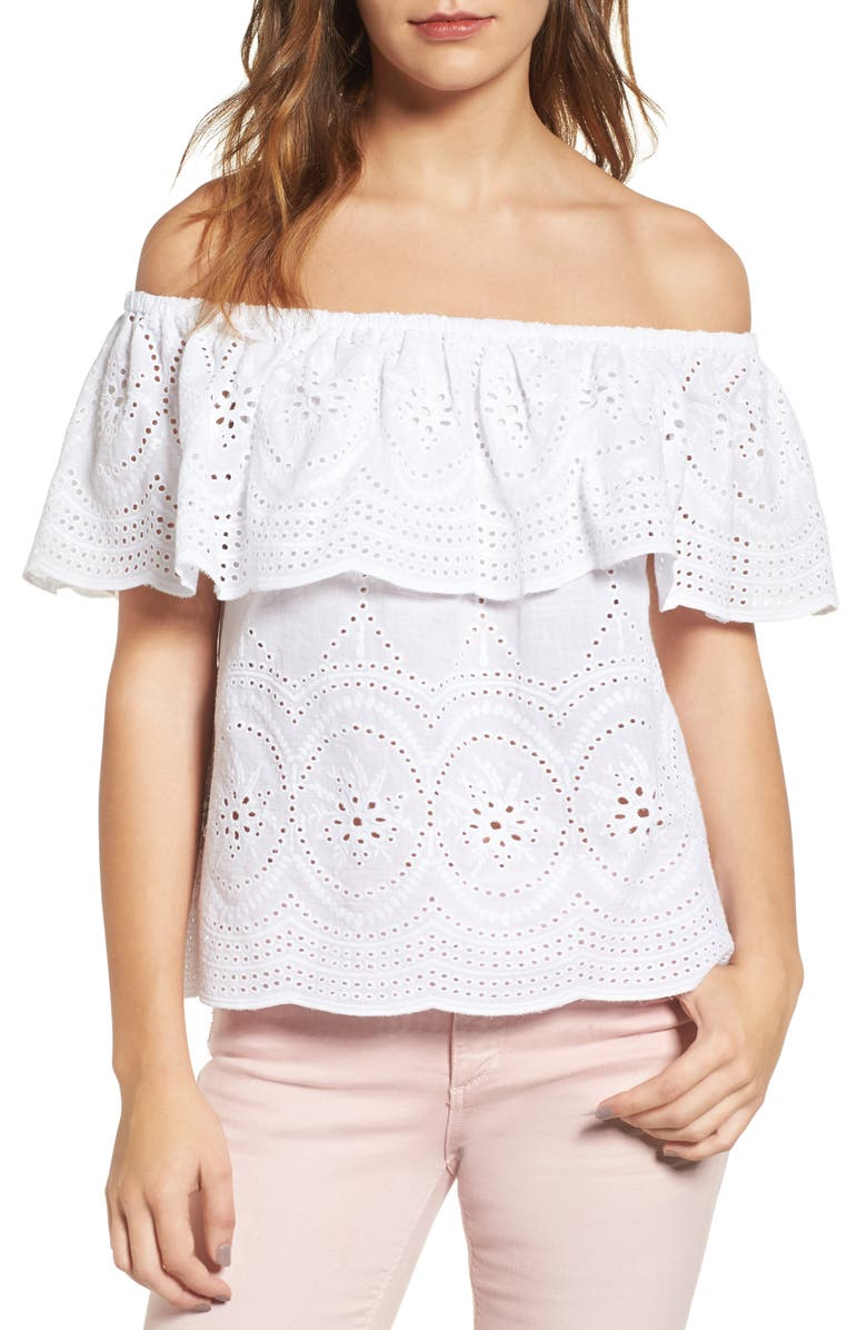 CUPCAKES AND CASHMERE Davy Eyelet Off the Shoulder Top, Main, color, 137