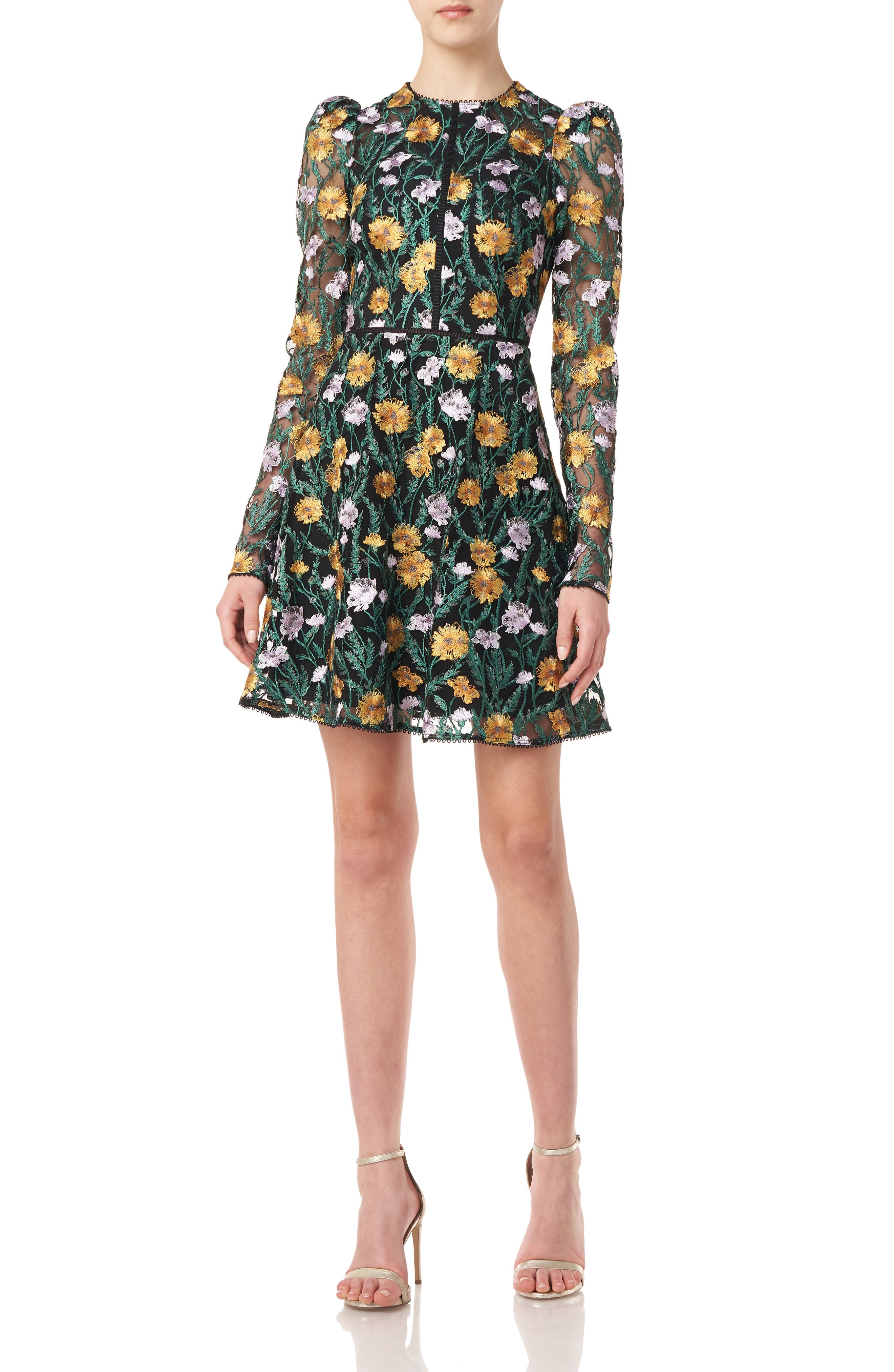Floral Embroidered Mesh Long Sleeve Minidress