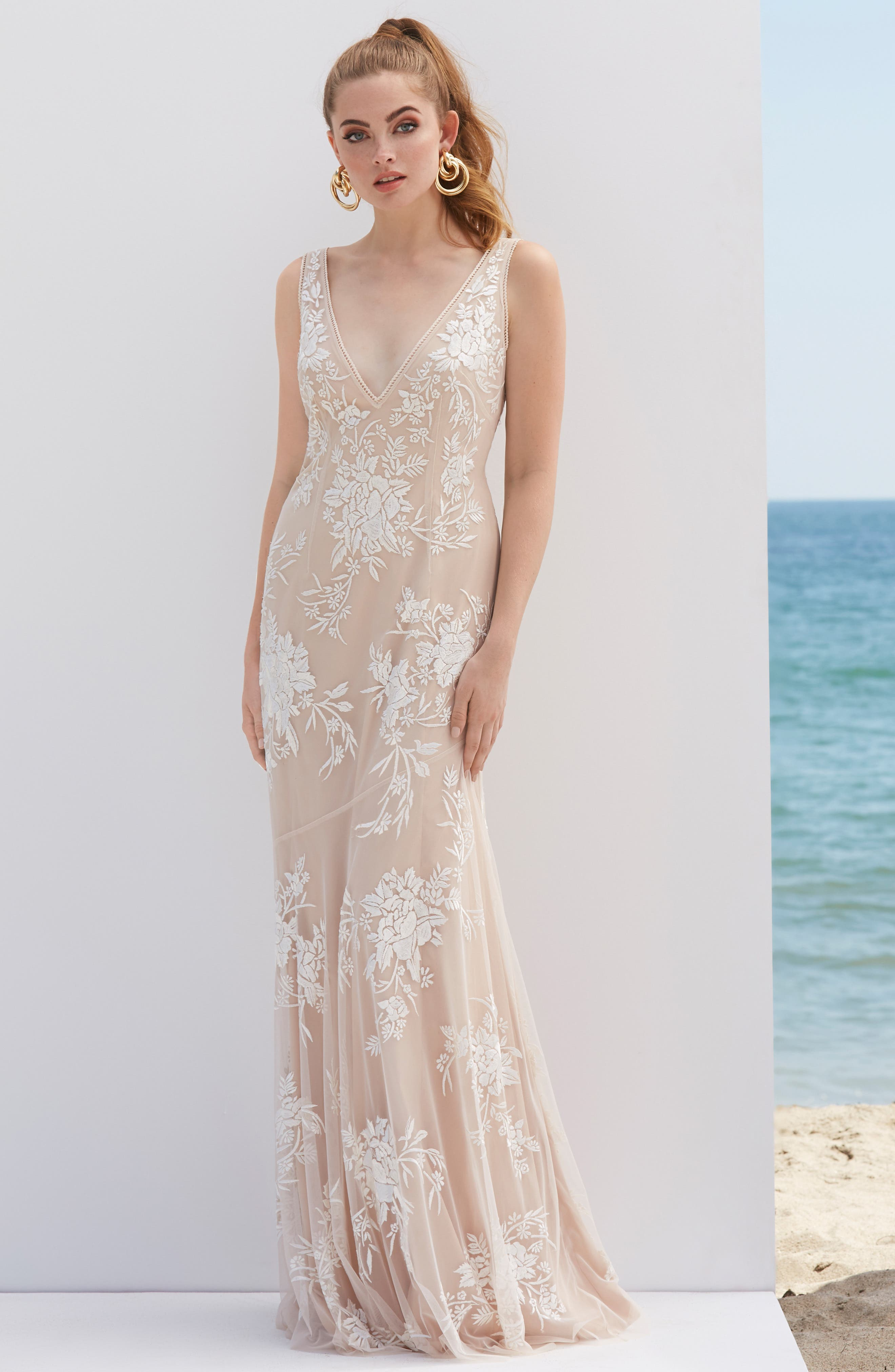 1930s Wedding History Womens By Watters V-Neck Embroidered Wedding Dress $1,250.00 AT vintagedancer.com