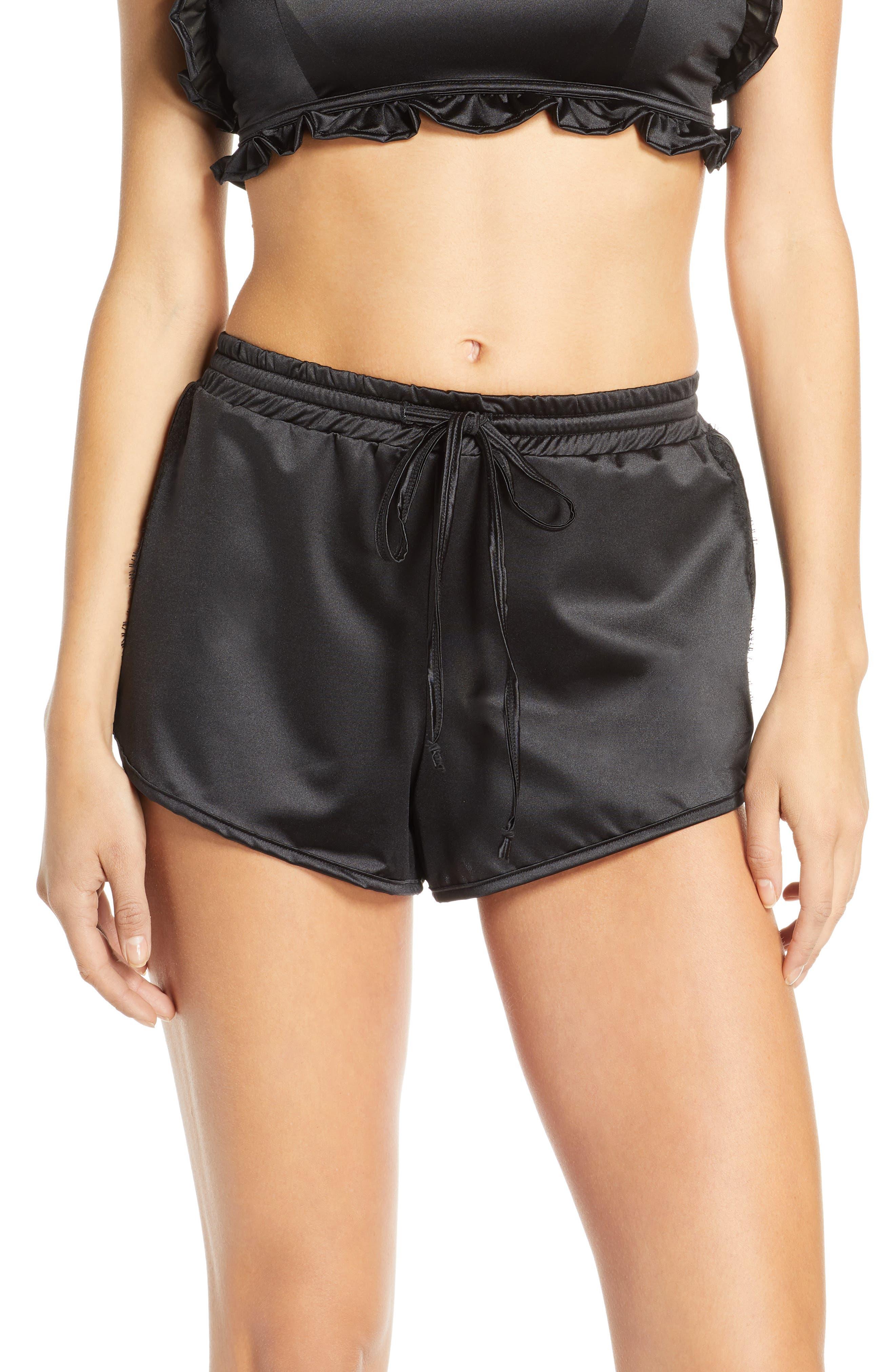 Jason Wu Satin Pajama Shorts, Black