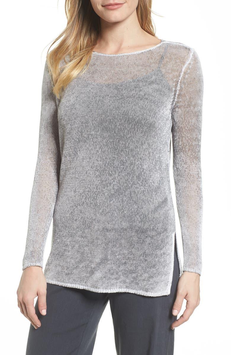 NIC+ZOE NIC + ZOE Poolside Linen Blend Sweater, Main, color, ZINC