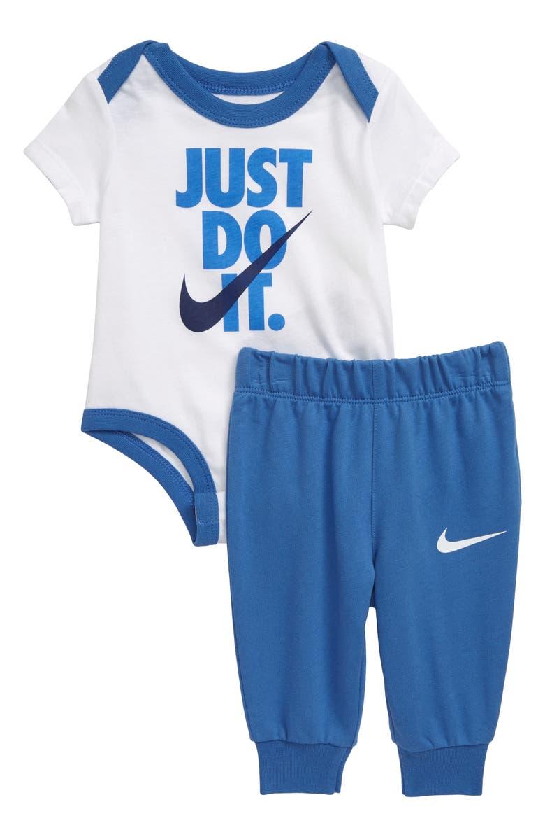 NIKE Just Do It Bodysuit & Pants Set, Main, color, MOUNTAIN BLUE