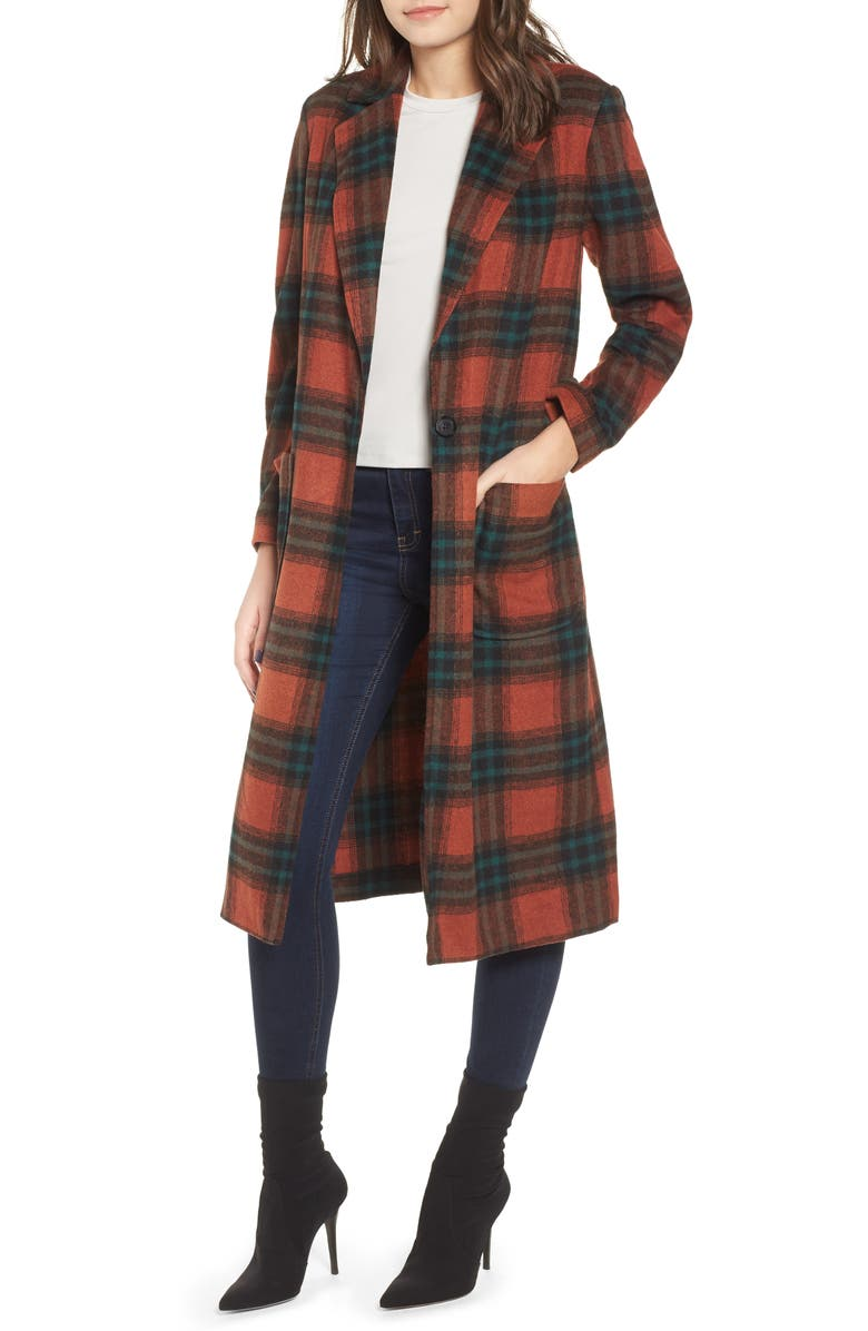 LEITH Single Button Plaid Coat, Main, color, 222