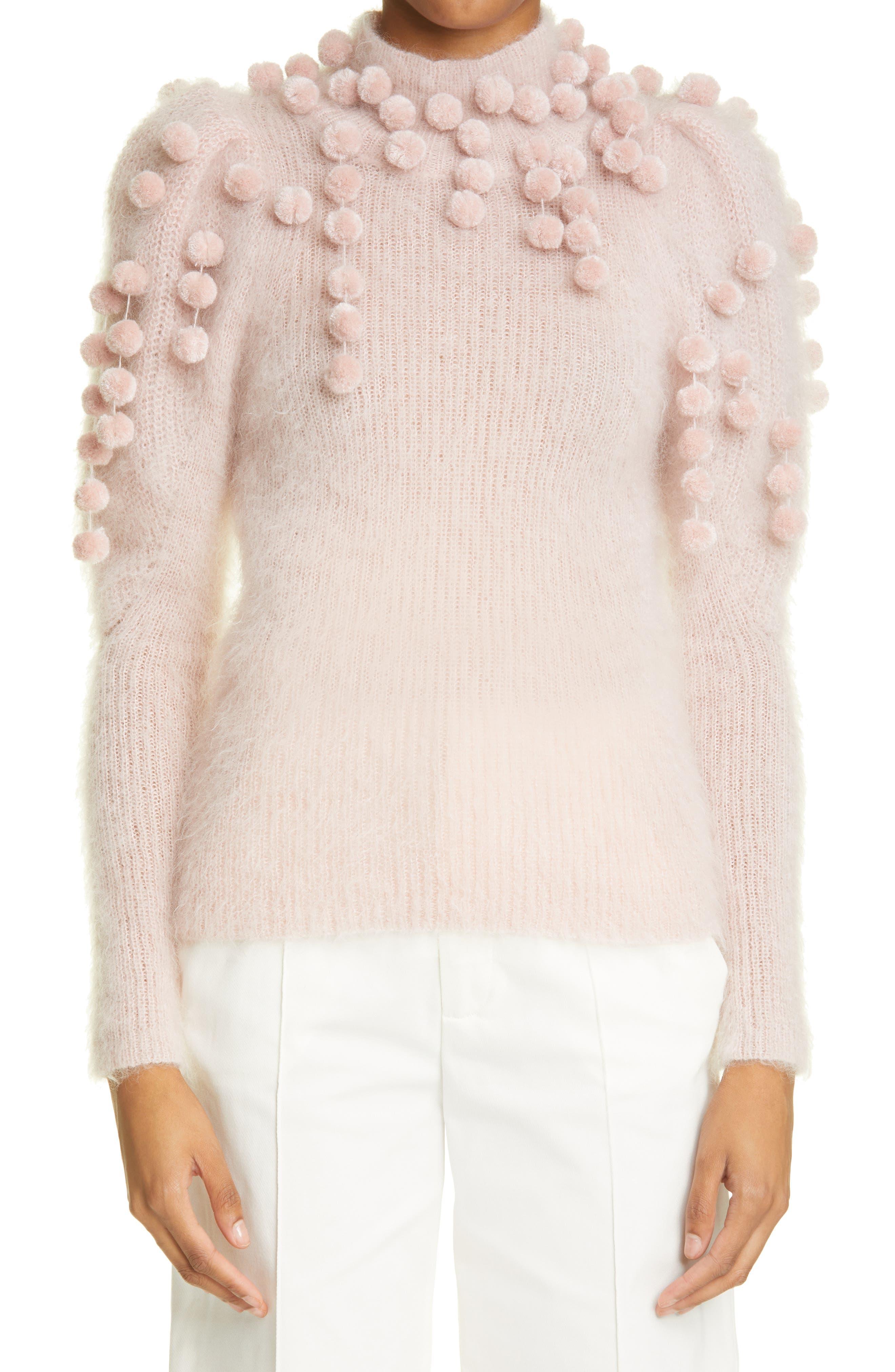 Women's Zimmermann Pompom Turtleneck Cashmere Sweater