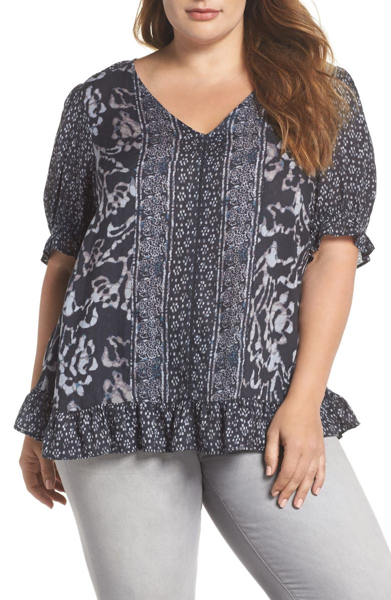LUCKY BRAND Batik Border Top, Main, color, 016