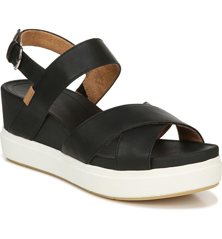 DR. SCHOLL'S Scenario Platform Sandal, Main, color, BLACK FAUX LEATHER