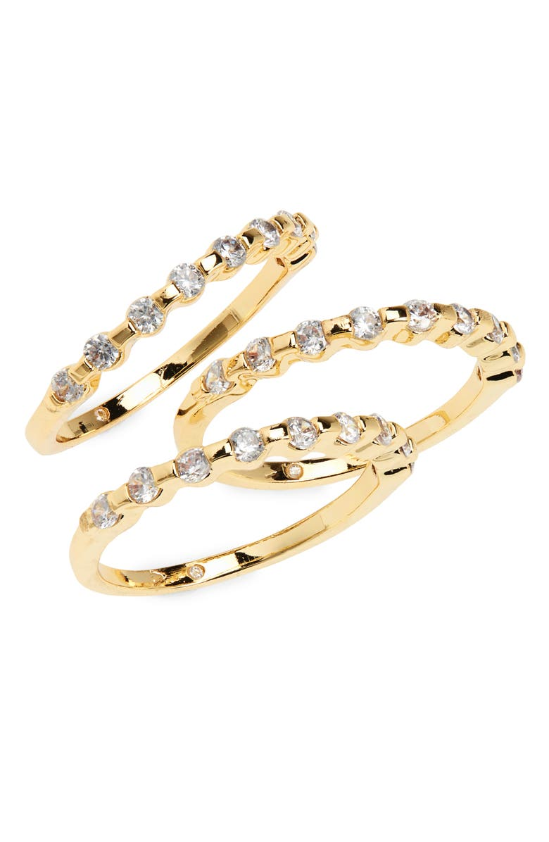 VINCE CAMUTO Nordstrom Set of 3 Crystal Stackable Rings, Main, color, GOLD
