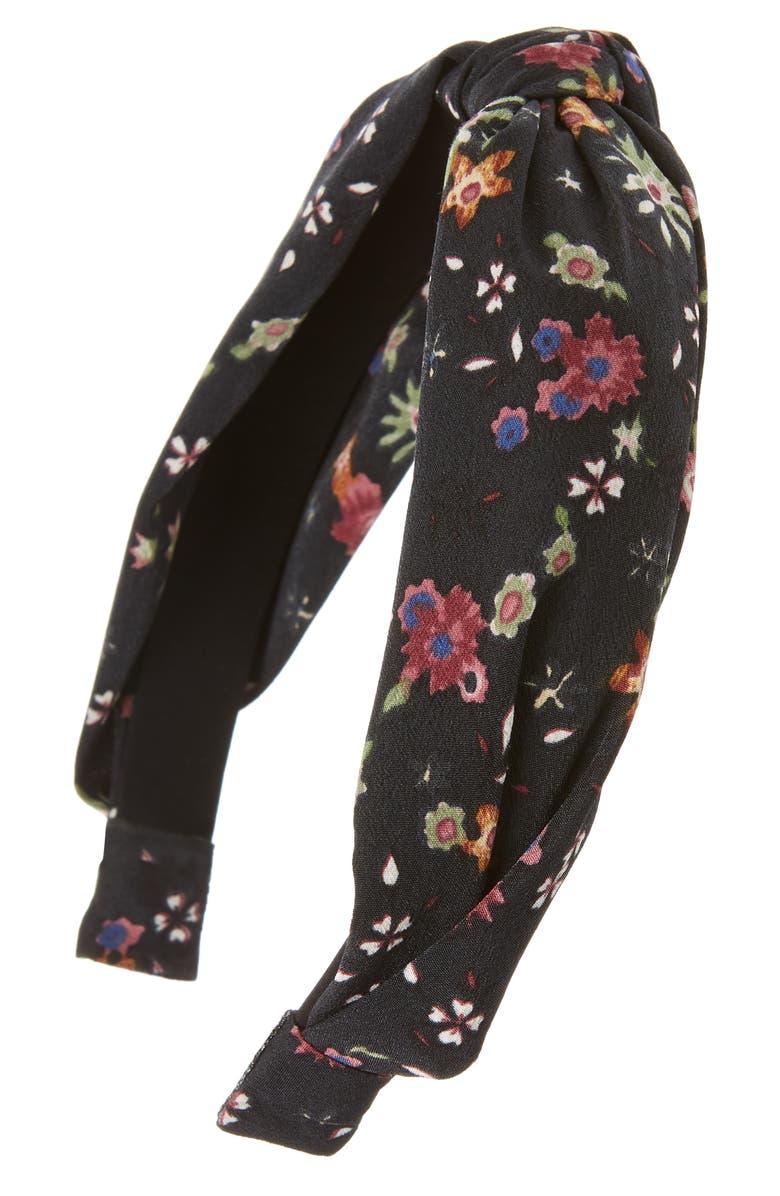 TASHA Floral Knot Headband, Main, color, BLACK