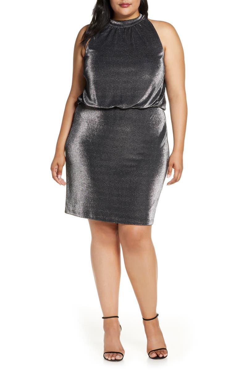 Vince Camuto Sleeveless Metallic Blouson Dress (Plus Size ...
