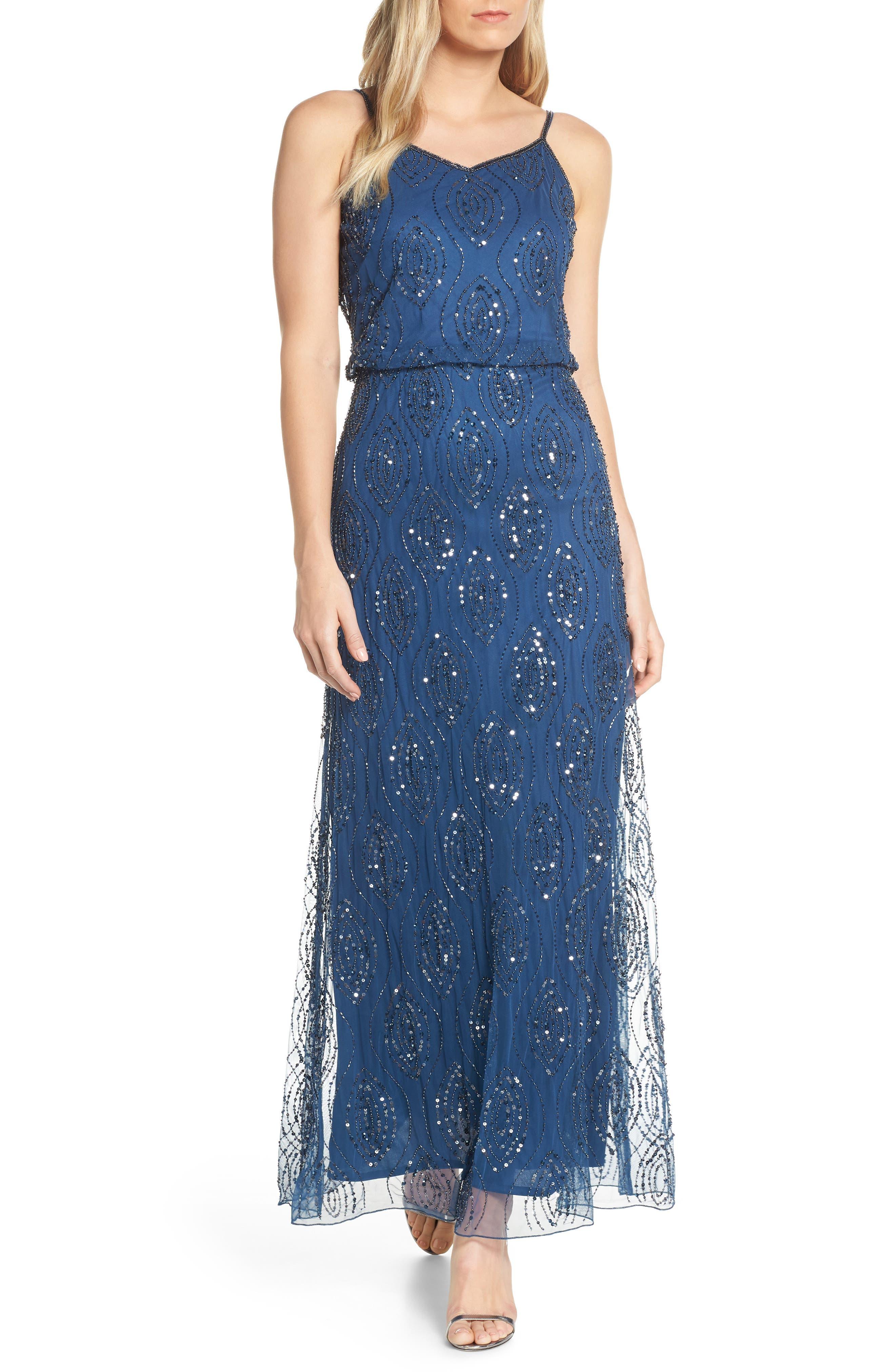Pisarro Nights Bead Embellished Blouson Evening Gown, Blue
