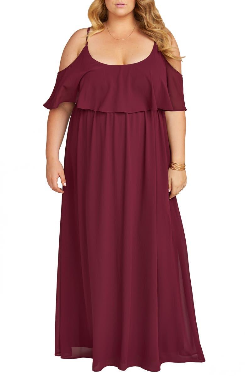 SHOW ME YOUR MUMU Caitlin Ruffle Cold Shoulder Evening Dress, Main, color, MERLOT CHIFFON