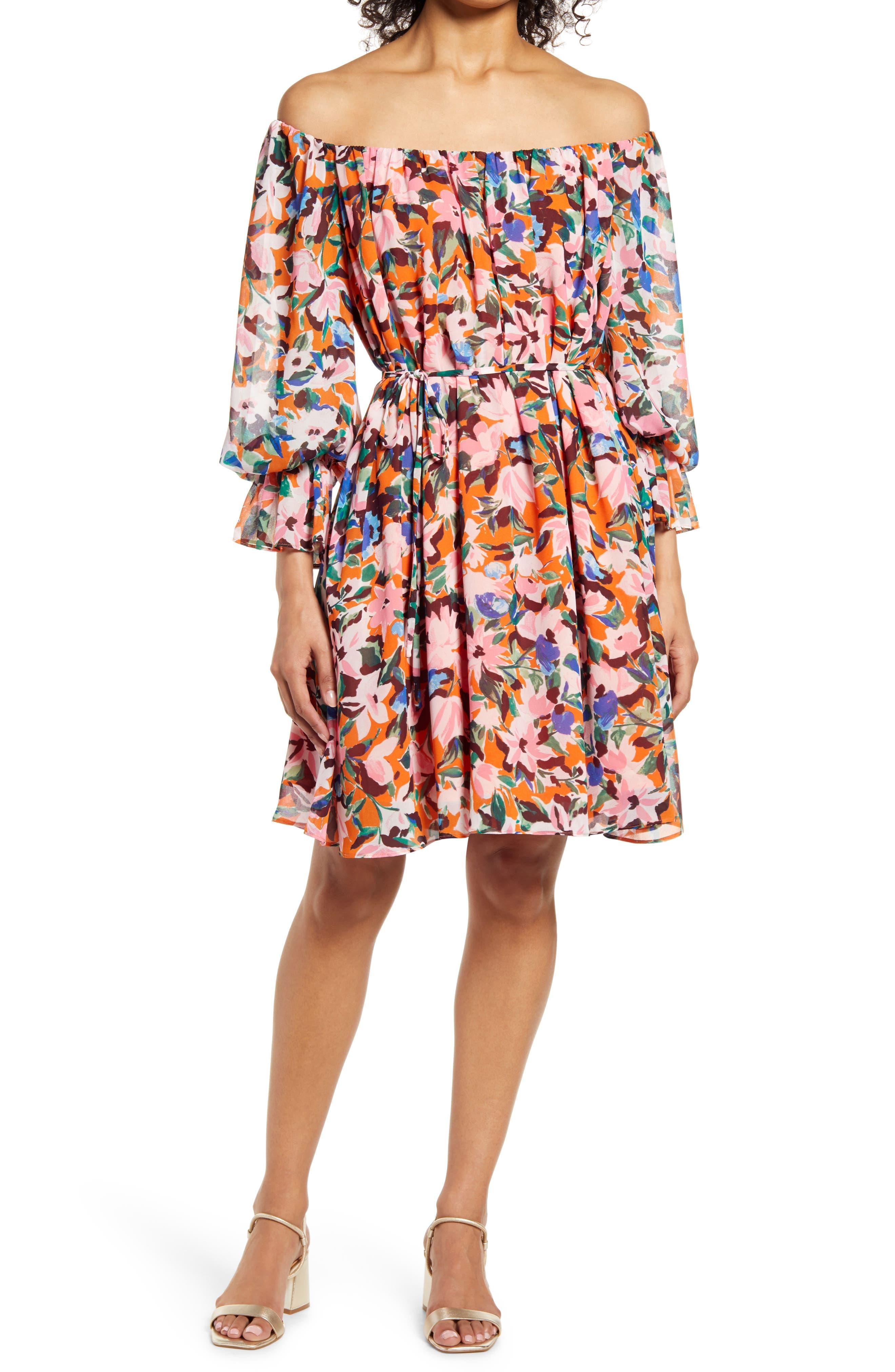 Floral Long Sleeve Crepe Dress