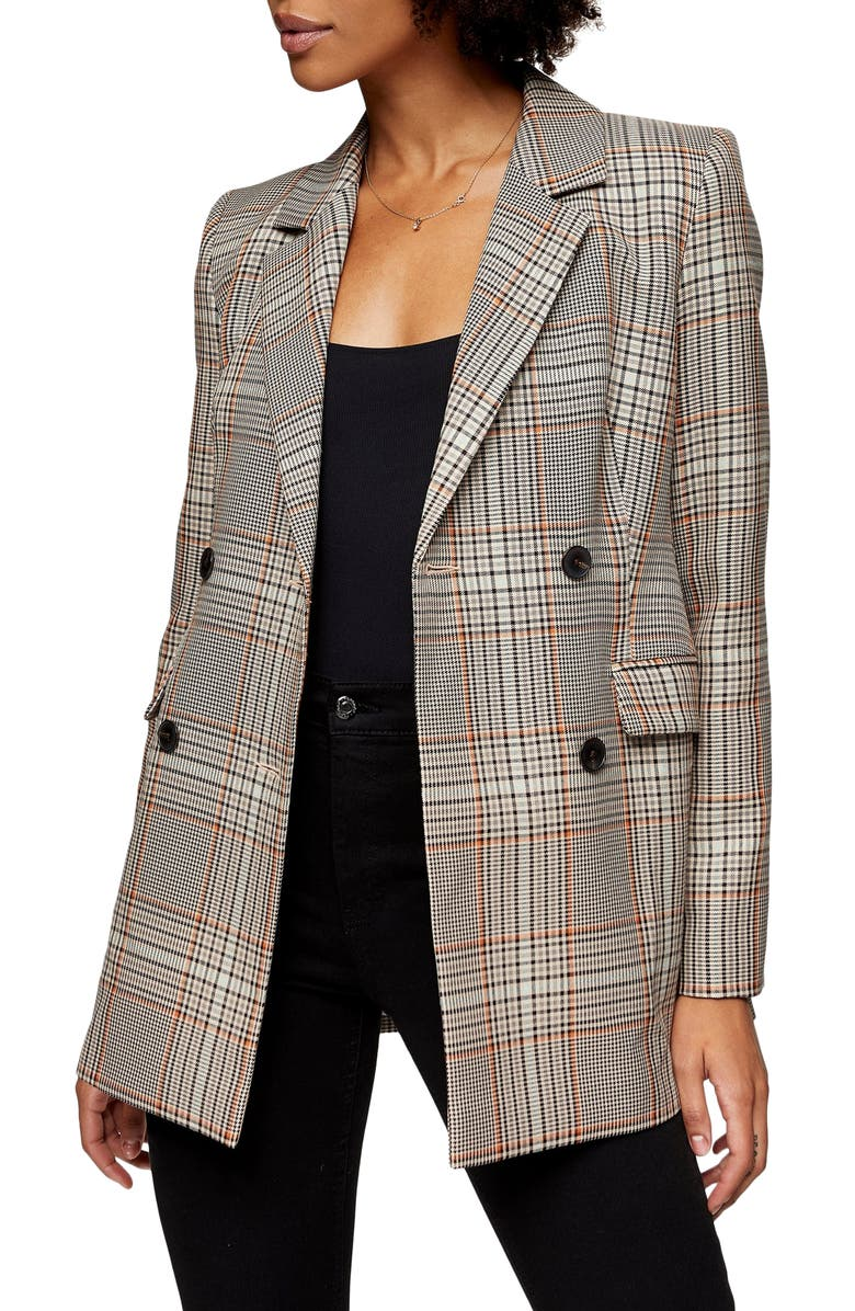 TOPSHOP Glen Plaid Double Breasted Blazer, Main, color, BROWN MULTI