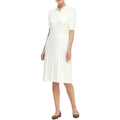 Gal Meets Glam Collection Elliott Cable Knit Polo Sweater Dress, Ivory