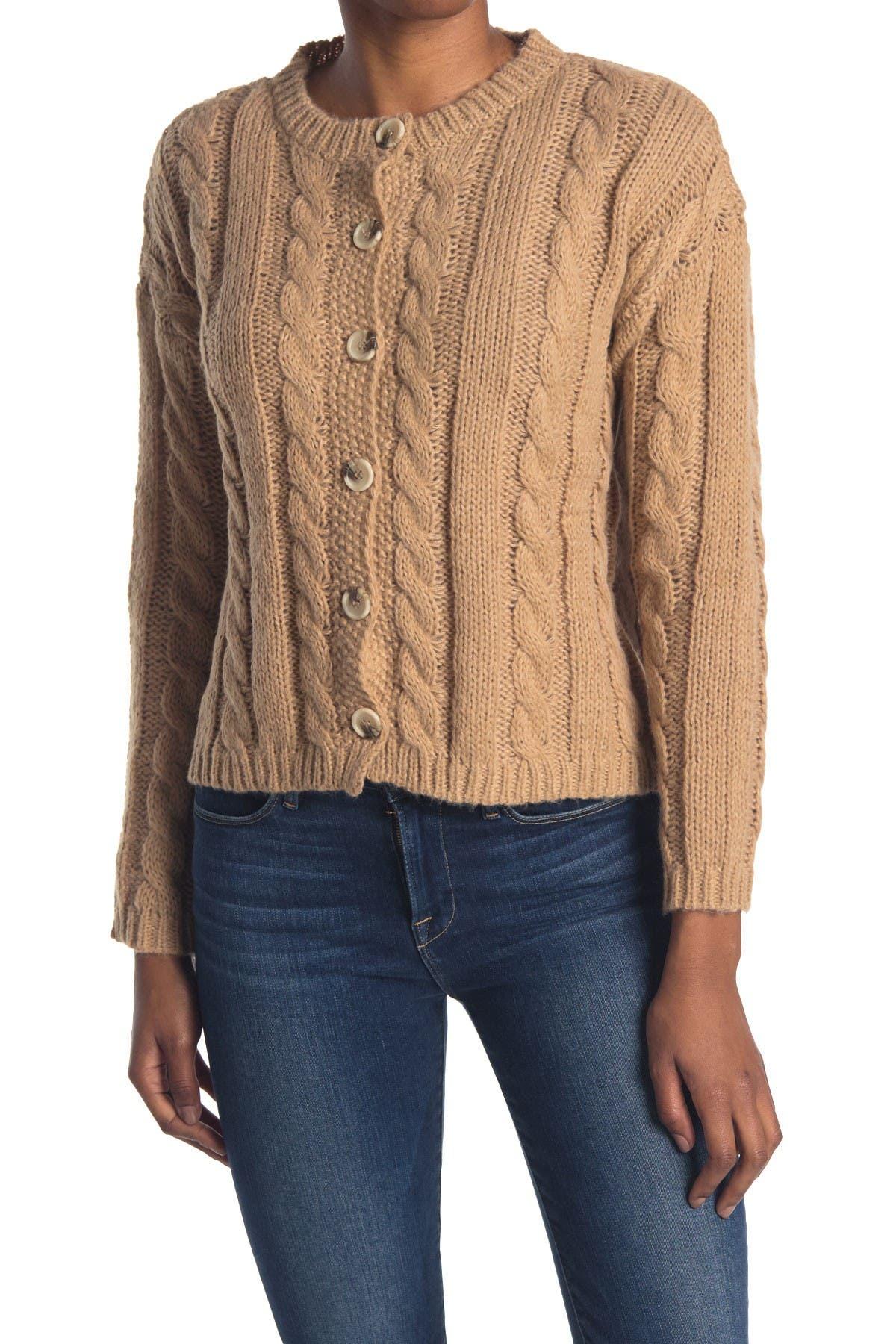 Image of Cotton Emporium Cable Knit Button Front Cardigan
