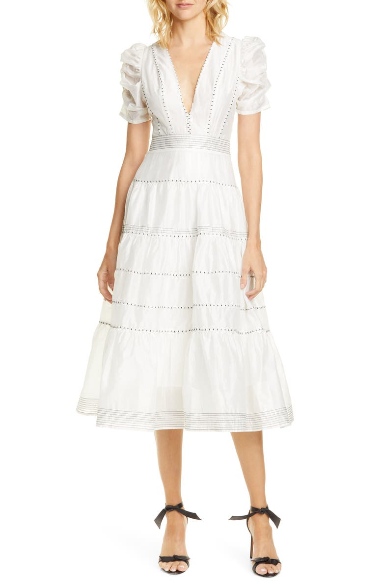 ULLA JOHNSON Odilie Midi Dress, Main, color, BLANC