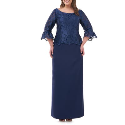 Plus Size Js Collections Embroidered Mesh Peplum Gown, Blue