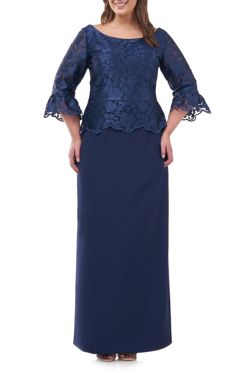 JS COLLECTIONS Embroidered Mesh Peplum Gown, Main, color, NAVY