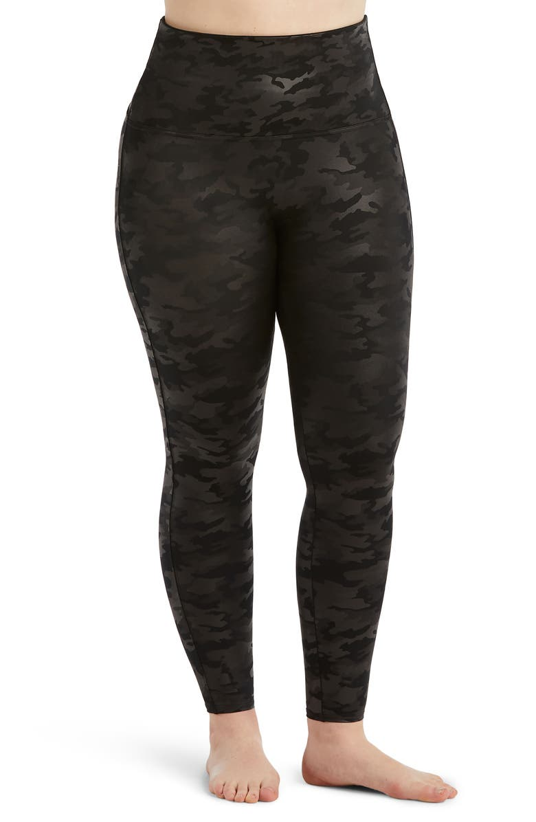 SPANX<SUP>®</SUP> Camo Faux Leather Leggings, Main, color, MATTE BLACK CAMO
