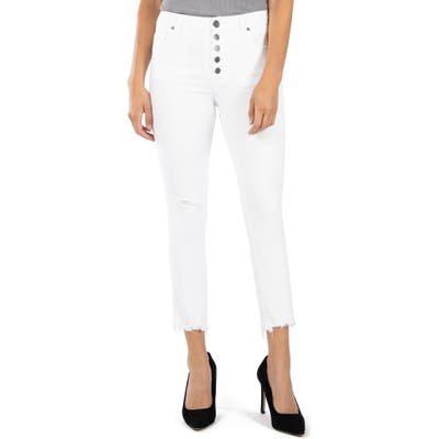 Kut From The Kloth Reese High Waist Fray Ankle Hem Jeans, White