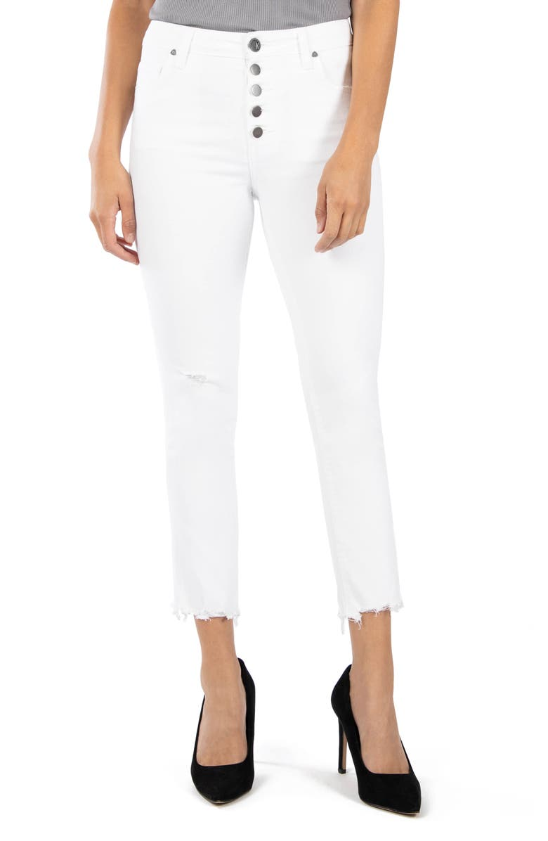 KUT FROM THE KLOTH Reese High Waist Fray Ankle Hem Jeans, Main, color, OPTIC WHITE