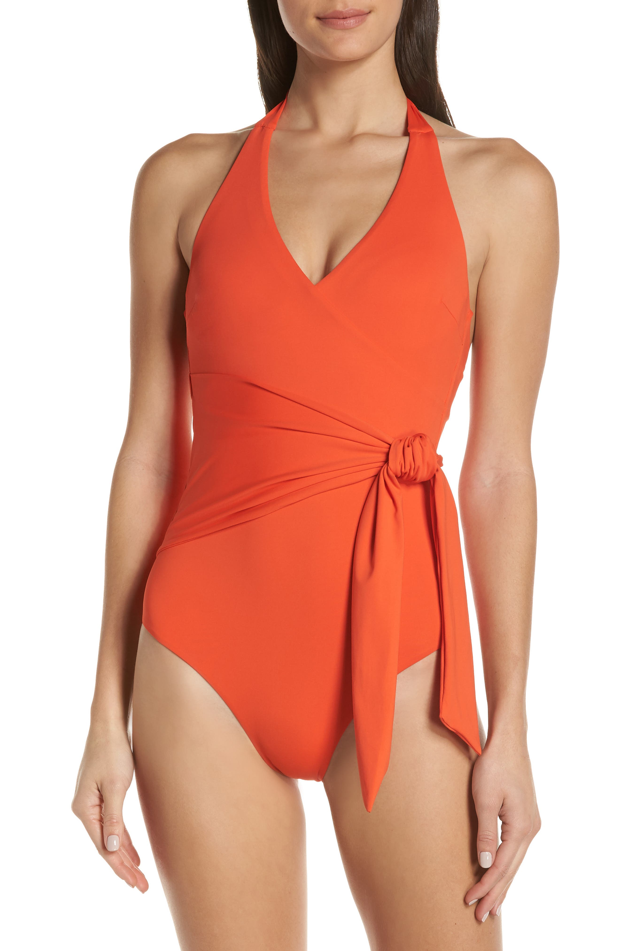 Elena One-Piece Swimsuit, Main, color, SANTA FE RED