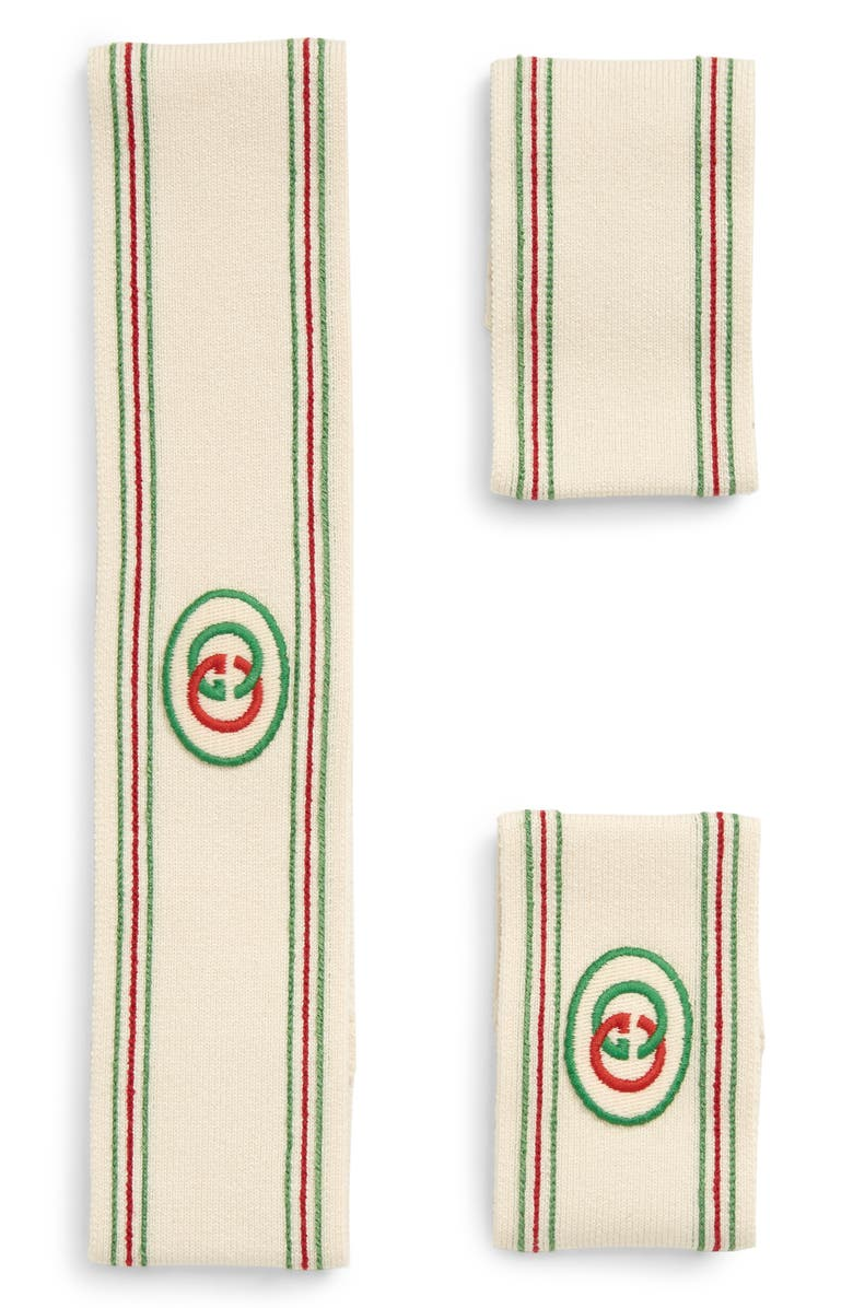 GUCCI Headband & Wrist Cuffs, Main, color, IVORY/ LIGHT GREEN