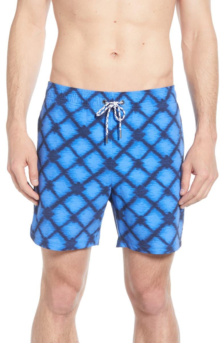 RHONE Fletcher Print Swim Trunks, Main, color, SILVER LAKE BLUE