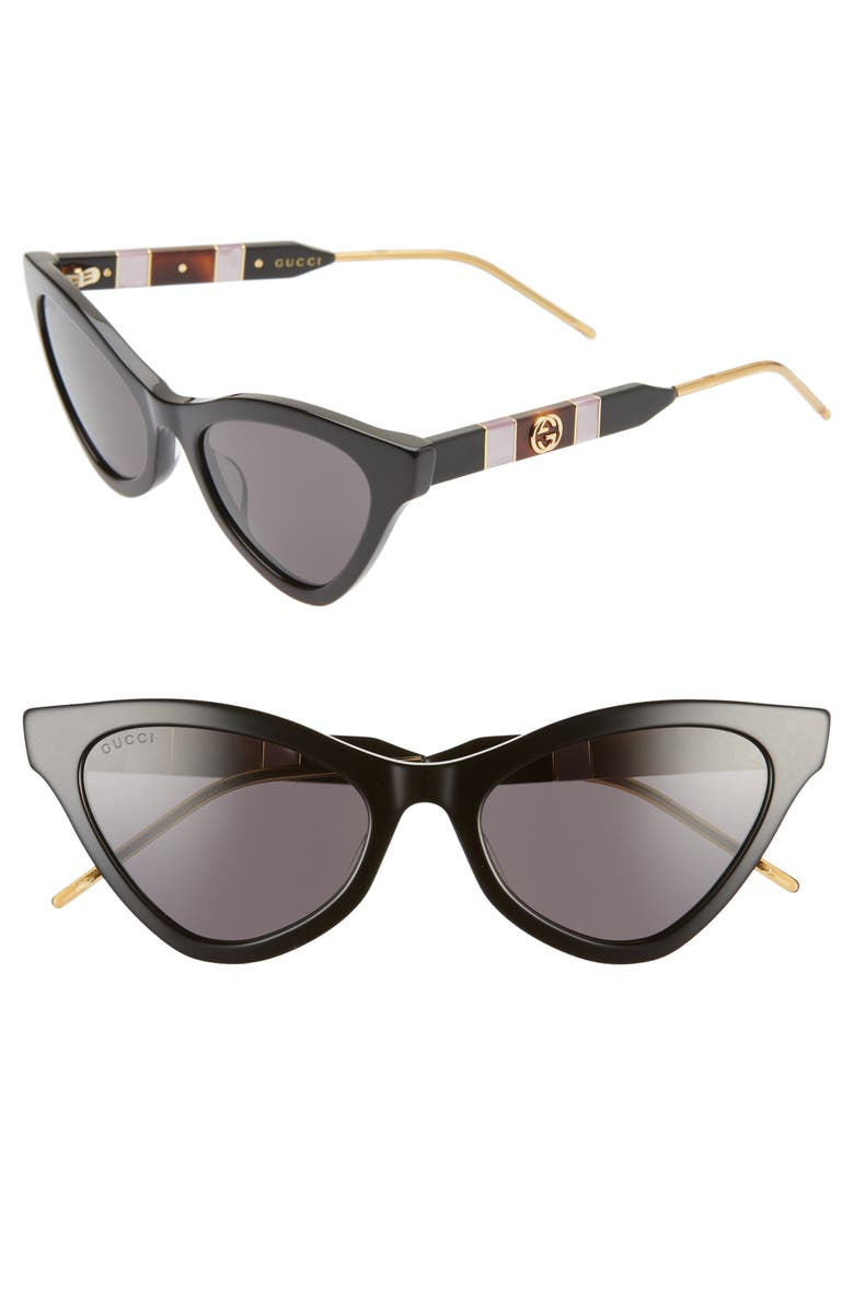 GUCCI 55mm Cat Eye Sunglasses, Main, color, 001