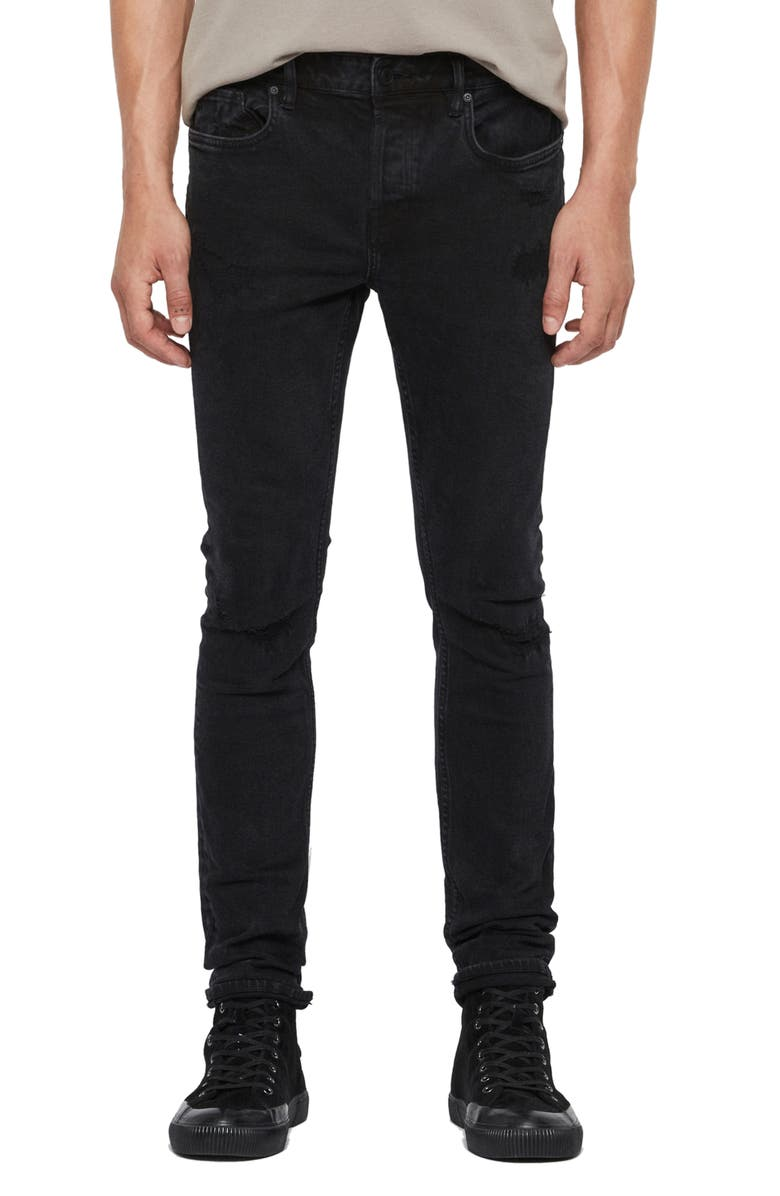 ALLSAINTS Cigarette Ripped & Repaired Straight Leg Jeans, Main, color, 001