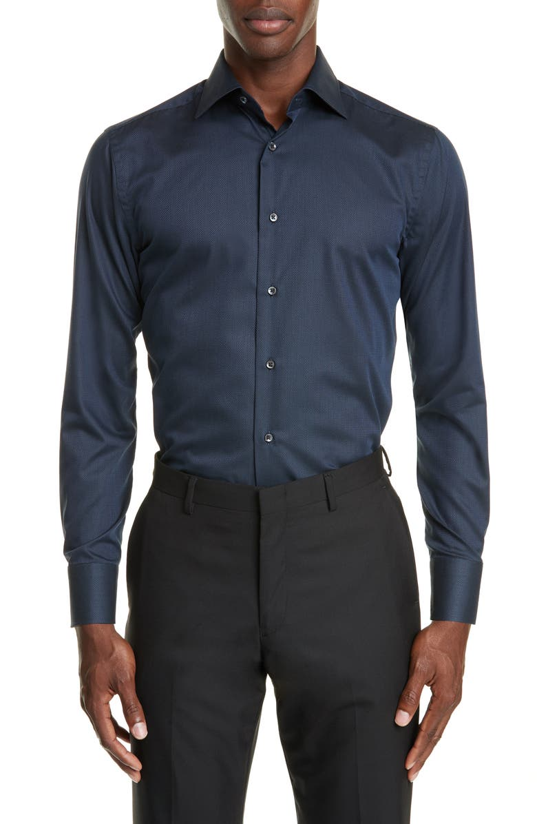 CANALI Trim Fit Solid Dress Shirt, Main, color, NAVY