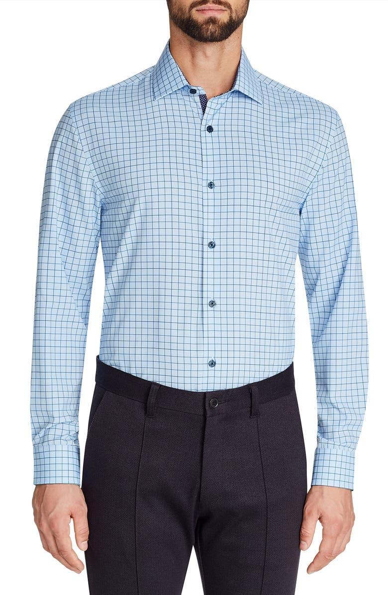 W.R.K Trim Fit Grid Performance Dress Shirt, Main, color, BLUE