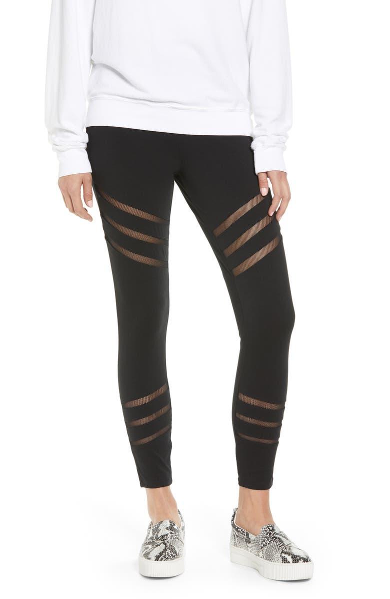 LYSSÉ Stripe Mesh Inset Leggings, Main, color, 001
