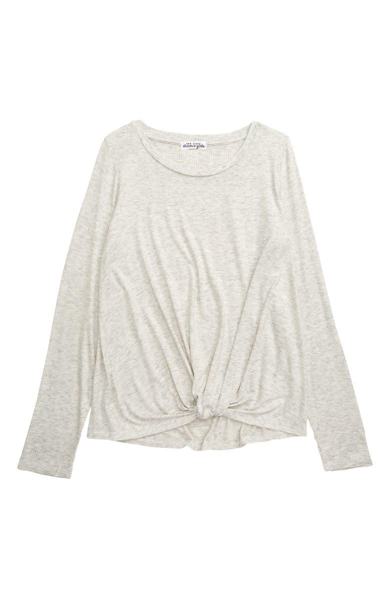 TEN SIXTY SHERMAN Twist Front Shirt, Main, color, HEATHER GREY