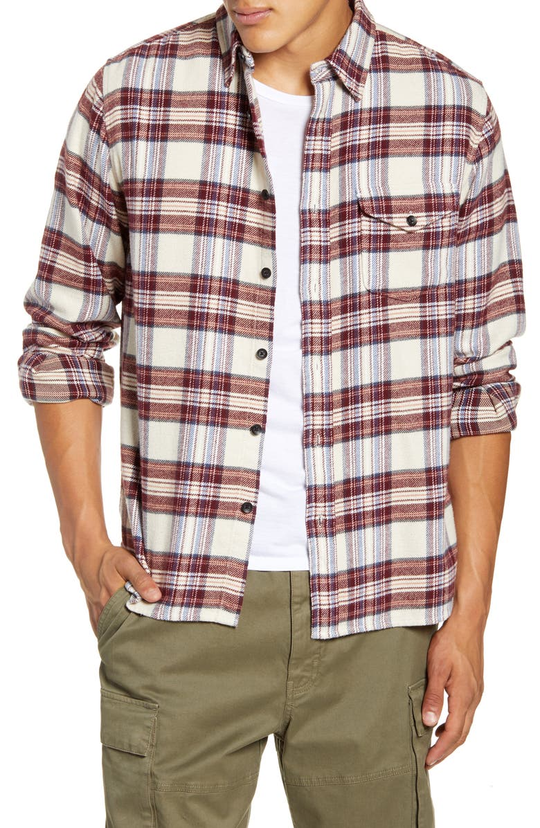 ALEX MILL Slim Fit Plaid Button-Up Flannel Shirt, Main, color, BURGUNDY/ IVORY