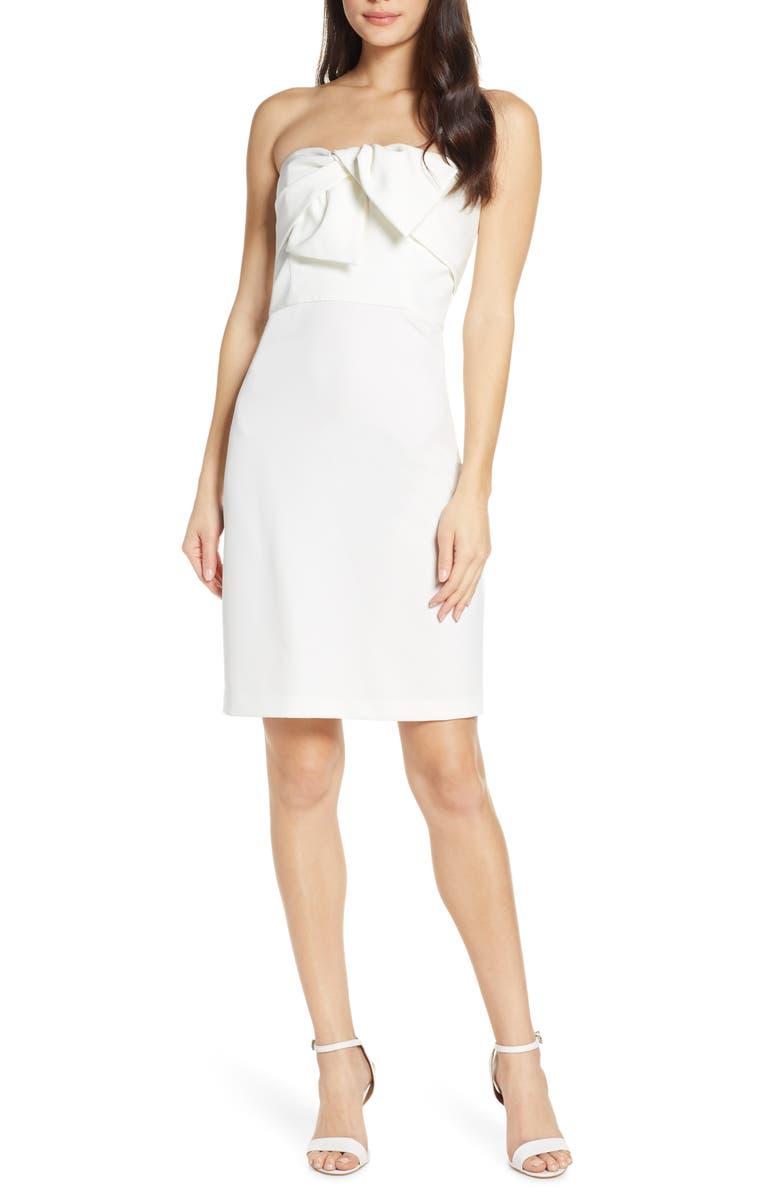 SAM EDELMAN Bow Front Strapless Sheath Dress, Main, color, IVORY