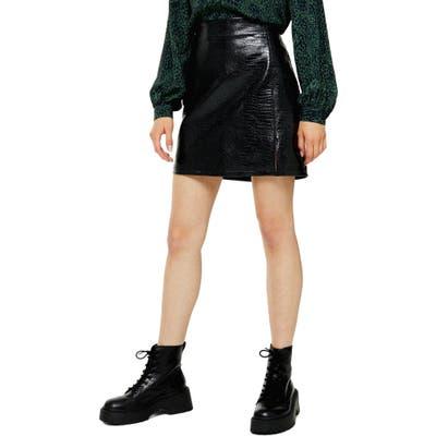 Petite Topshop Croc Embossed Faux Leather Miniskirt, P US (fits like 0P) - Black