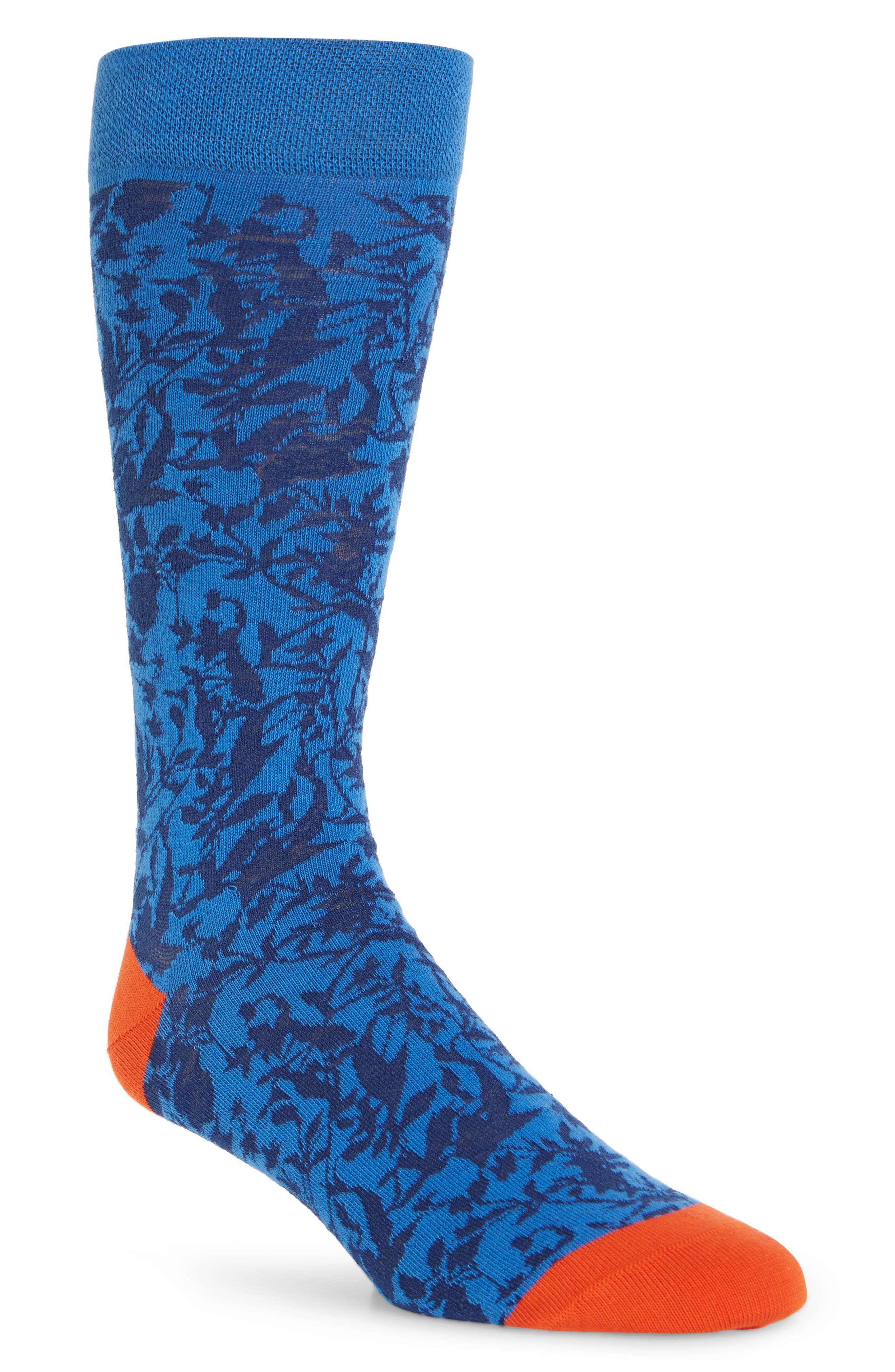 ,                             Leaf Socks,                             Main thumbnail 1, color,                             BLUE