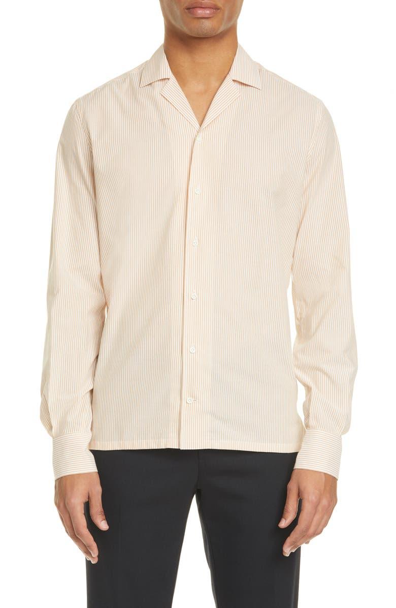 EIDOS Trim Fit Pinstripe Button-Up Camp Shirt, Main, color, 100
