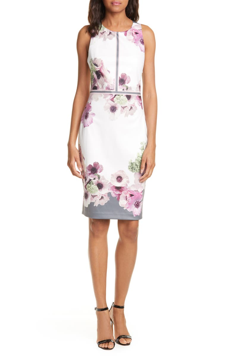 TED BAKER LONDON Nanina Cocktail Dress, Main, color, LIGHT GREY