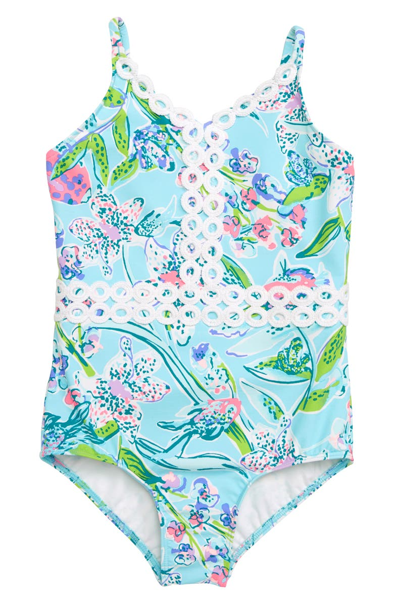 LILLY PULITZER<SUP>®</SUP> Mals One-Piece Swimsuit, Main, color, BALI BLUE SWAY THIS WAY SWIM