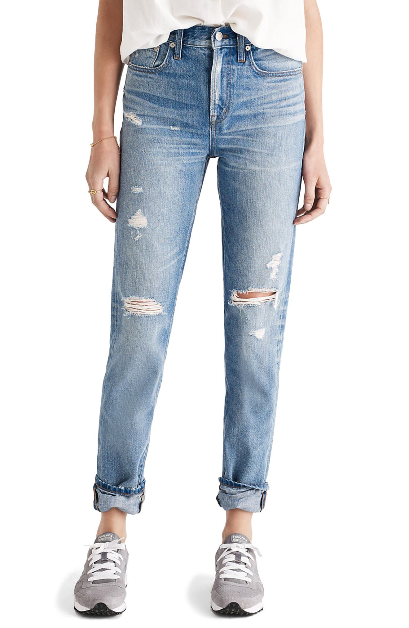 Perfect Vintage Ripped High Waist Boyfriend Jeans, Main, color, 400
