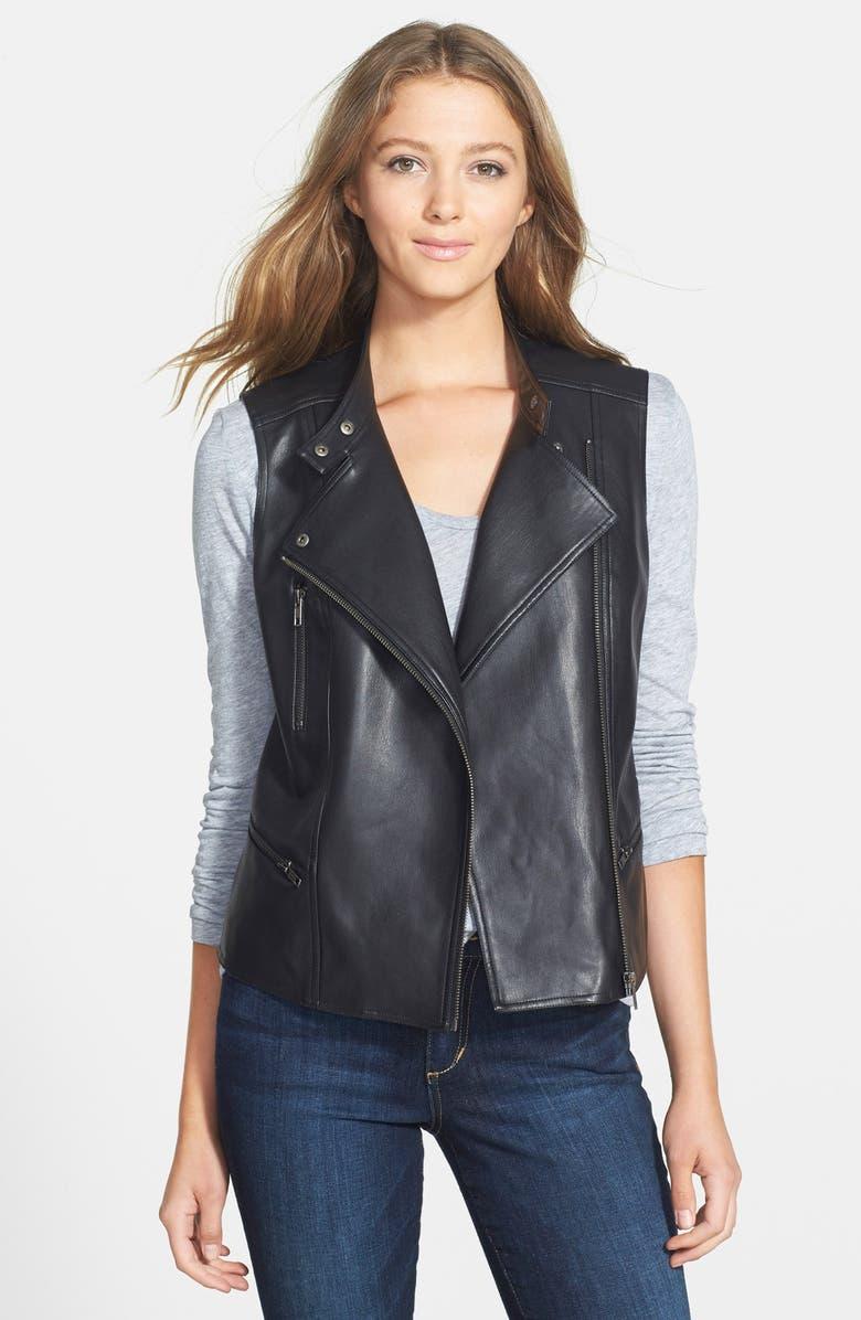 HALOGEN<SUP>®</SUP> Faux Leather Moto Vest, Main, color, 001