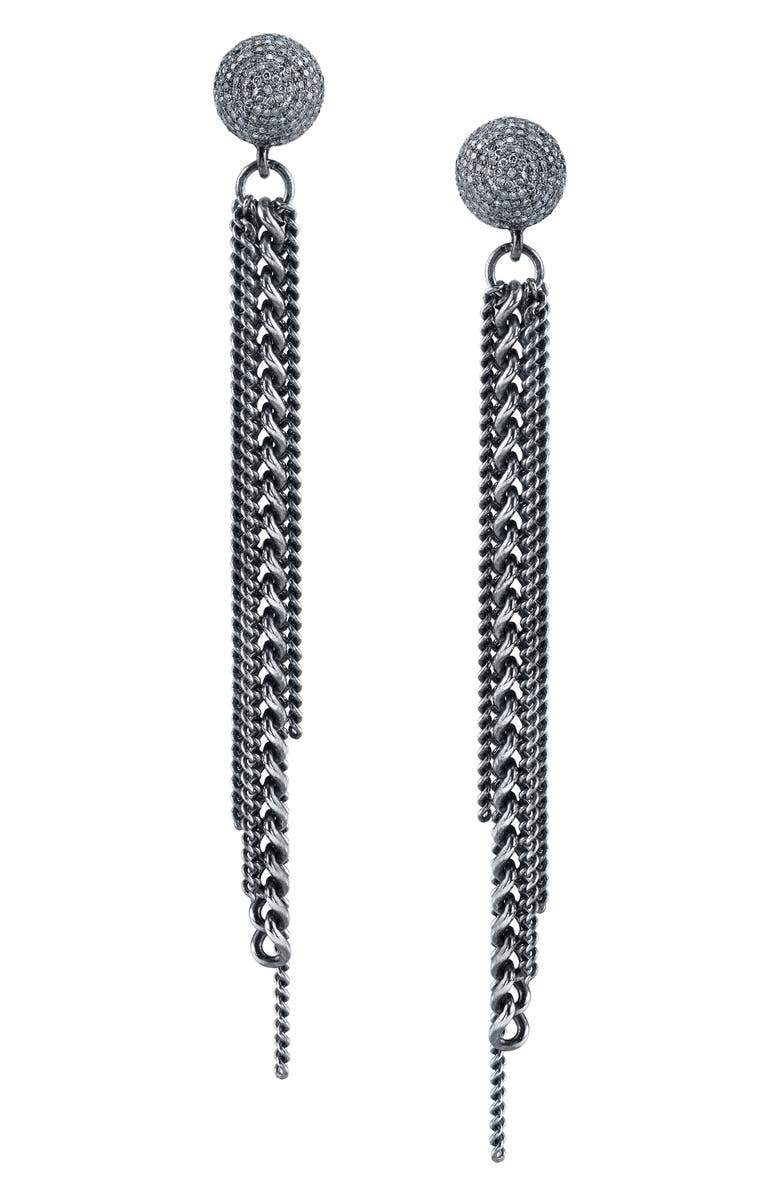 SHERYL LOWE Fringe Earrings with Diamonds, Main, color, STERLING SILVER