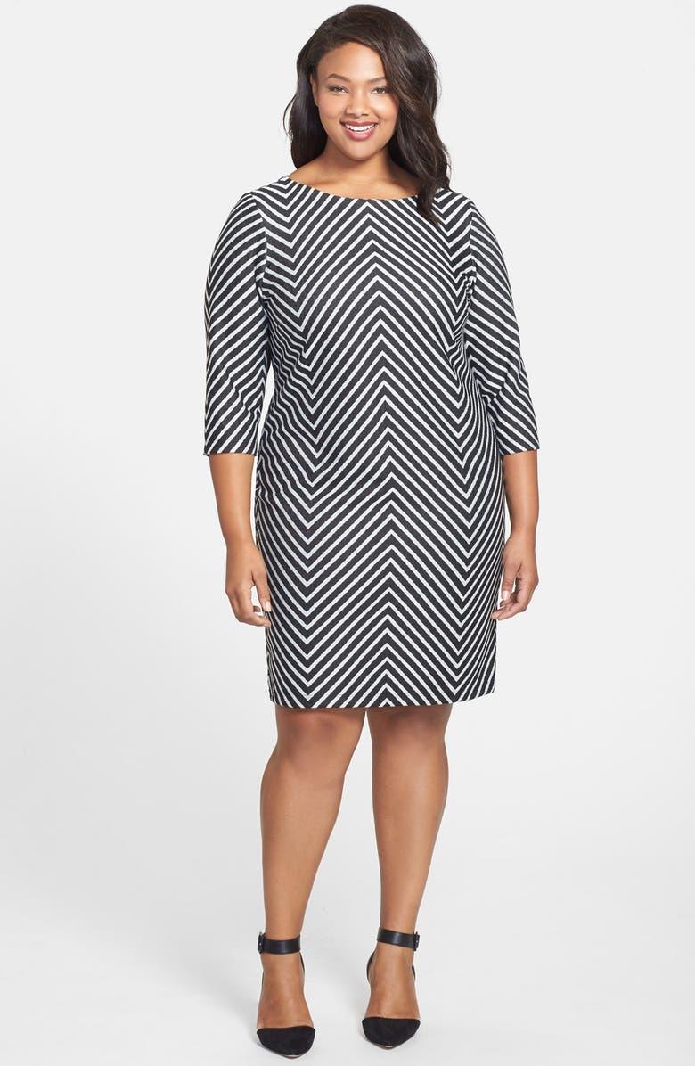 Mitered Stripe Ponte Sheath Dress