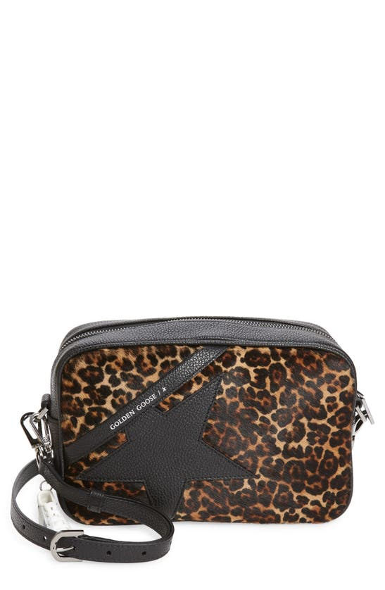 Golden Goose Star Leopard Print Genuine Calf Hair & Leather Camera Bag In Brown Leopard