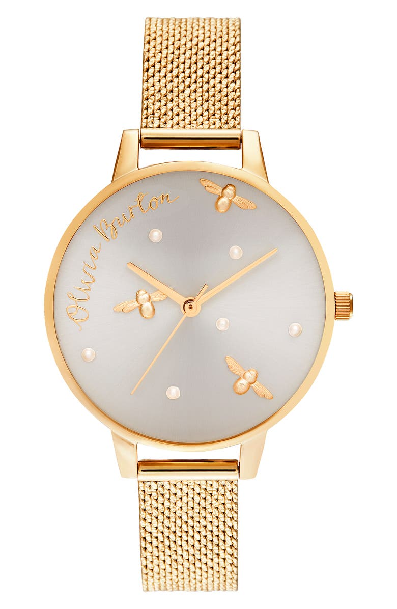 OLIVIA BURTON Pearly Queen Mesh Strap Watch, 34mm, Main, color, GOLD/ SILVER