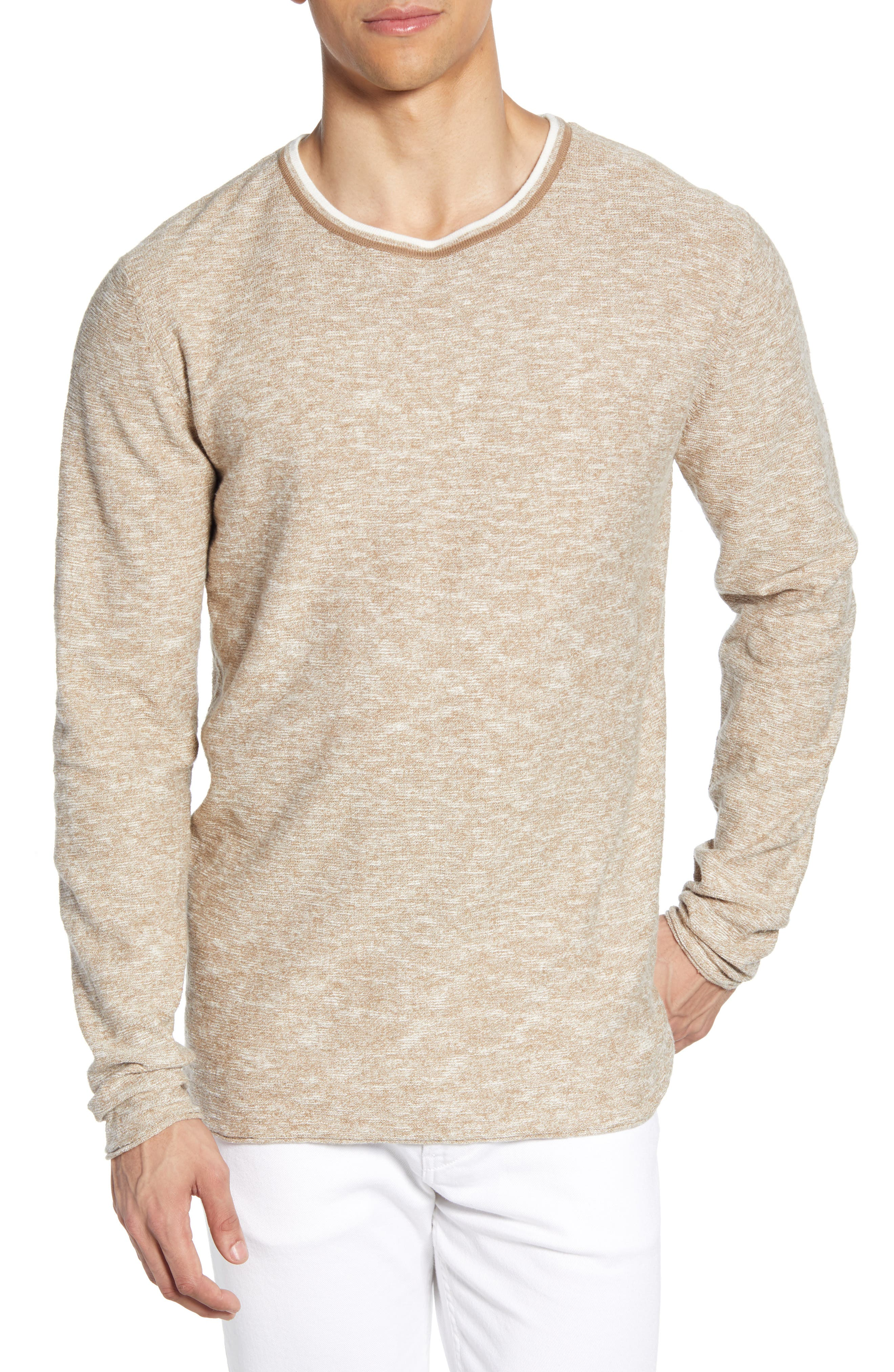 Selected Homme Clash Slim Fit Linen Blend Sweater, Brown