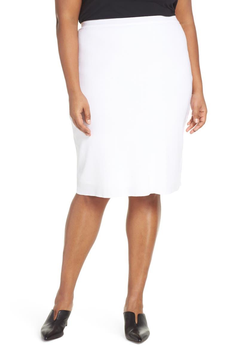MING WANG Knit Pencil Skirt, Main, color, WHITE