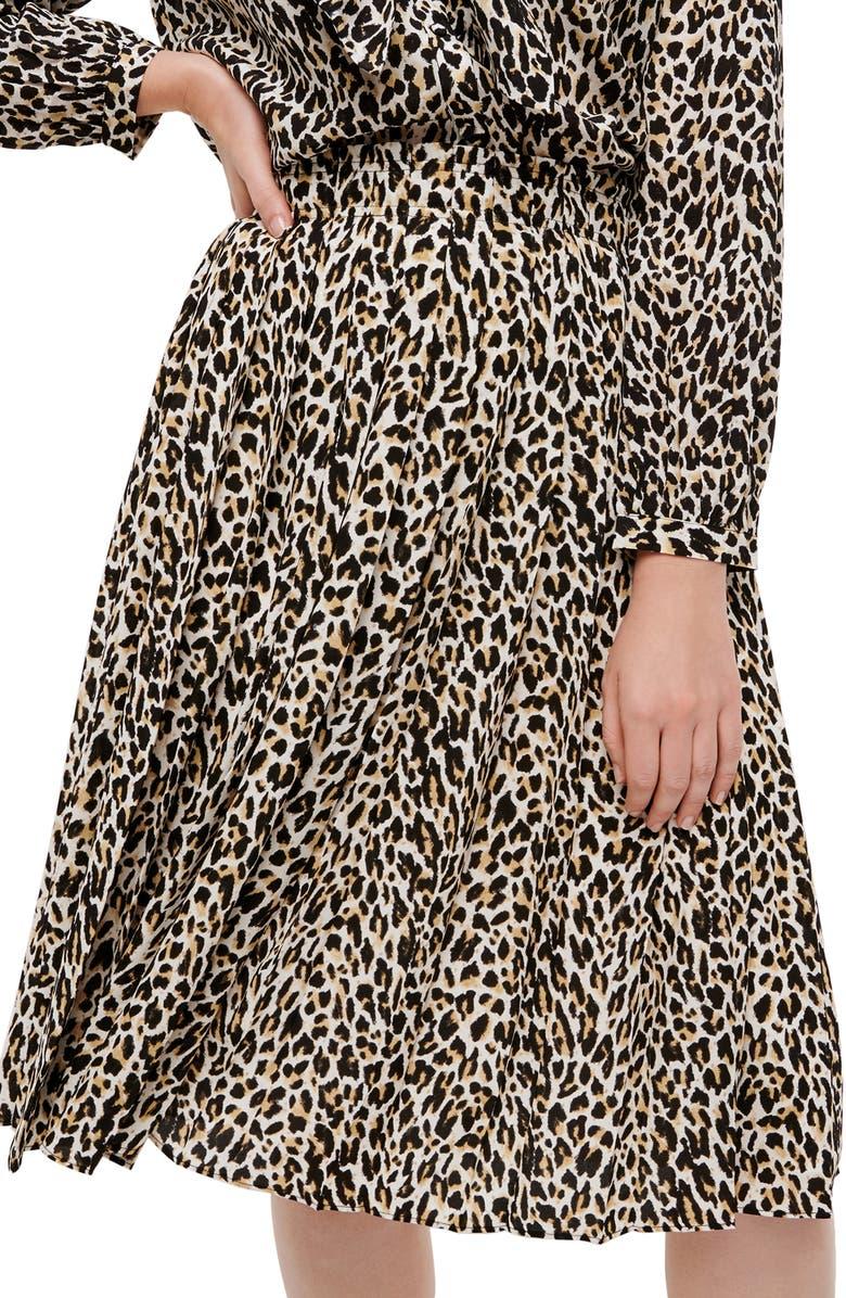 J.CREW Leopard Pleated Midi Skirt, Main, color, NATURAL MULTI